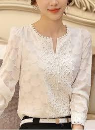 Good Quality Spring Autumn White Blouse Chiffon Shirt <b>Women</b> ...