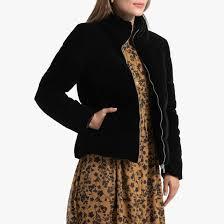 <b>Куртка стеганая</b> короткая из велюра черный <b>La Redoute</b> ...
