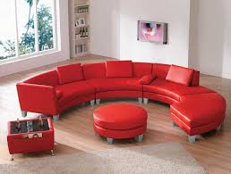 f astounding red upholstery leather modular sectional sofa living rooms with curved shaped and cool round coffee table plus square side table using silver astounding red leather couch furniture