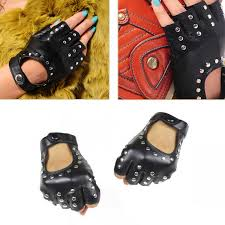 Long Keeper <b>Women Rivets</b> PU <b>Leather Gloves</b> Semi Finger Mens ...