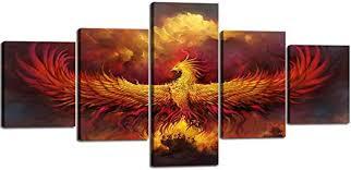 5 Piece Painting on Canvas Burning Phoenix Drawn ... - Amazon.com