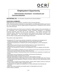 assistant job description     seangarrette coassistant job description    s administrative assistant job description for resume