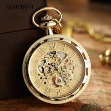 Luxury Antique Skeleton <b>Mechanical</b> Pocket <b>Watch Men Steampunk</b> ...