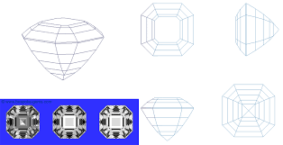 Square Gem Designs - Egyptian Asscher Cut - Bespoke Gems