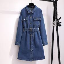 vintage jeans Dress 2019 <b>autumn large size</b> women's long loose ...
