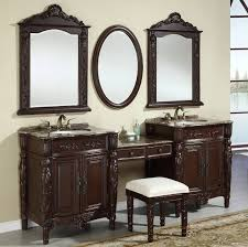 f brilliant bathroom vanity mirrors inspiration of picture double sink cabinet with makeup area and rich cherry finish wood frames and carving art brilliant bathroom vanity mirrors decoration black wall