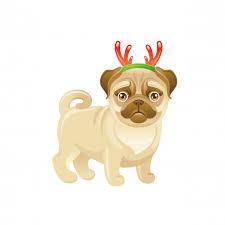 <b>Cute</b> dog with <b>christmas</b> deer horns <b>decoration</b>. <b>cartoon</b> pug puppy ...