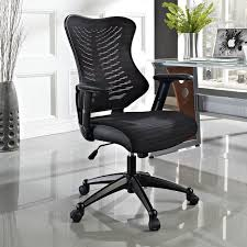 black fabric plastic mesh ergonomic office chair fabric cover seat cushion gray ceramic tile floor white wall paint color bay window inside glass desk black fabric plastic mesh ergonomic office