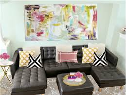 Of Living Rooms With Black Leather Furniture Living Room Wonderful Colorful Abstract Art On Canvas Ideas For