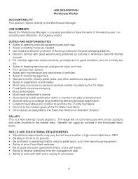 resume job description for warehouse worker sample customer resume job description for warehouse worker warehouse worker job description monster warehouse worker resume samples warehouse