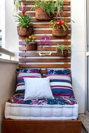 adorn your balcony with potted plants hanging on your furnished wooden wall balcony furnished small