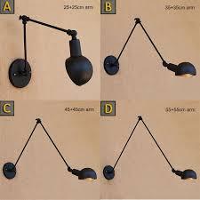 Loft Industrial <b>adjustable long swing</b> arm Wall lamp Fixture Vintage ...