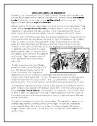 lewis and clark essay lewis and clark supplemental essay essay reading comprehension america