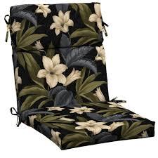 black tropical blossom outdoor dining chair cushion black patio chair cushions