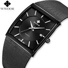 <b>Wwoor Top Brand</b> Luxury <b>Mens</b> Square Quartz Watches <b>Male</b> ...