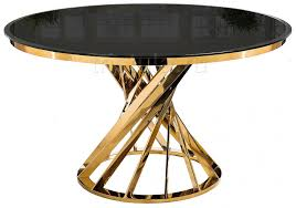 Обеденный <b>стол Twist gold</b> / <b>black</b> из стекла