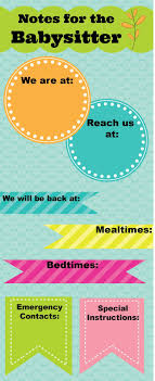 best ideas about babysitters babysitter printable of notes for the babysitter