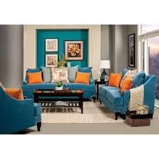 blue sofas living room: furniture of america estella retro  piece peacock blue sofa set