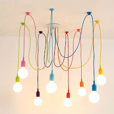 <b>Art Colorful Pendant</b> Lights DIY Spider Chandelier Silicone Hanging ...