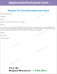 letter to cancel the approved leave of employee due to work in office cancellation of leave of employee