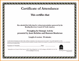 certificate of attendance templates template certificate of attendance templates