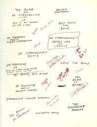 kubrick s brainstorming notes for dr strangelove kubrick s dr strangelove premiered on 29 1964 middot