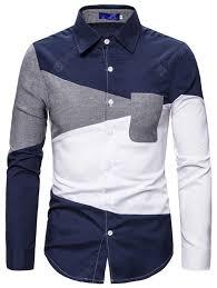 Men's Color Block Printing <b>Shirt</b> Long-sleeved Button-down T-<b>shirt</b> ...