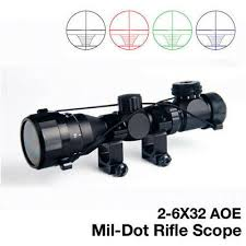 Tactical <b>2</b>-<b>6x32 AOE</b> Red Green Mil-dot Short Illuminated Sight ...