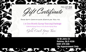 gift certificates gold coast spray tan gift certificate example