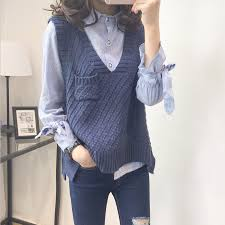 Spring Autumn New Loose Vest Sweaters <b>Women Casual Solid V</b> ...