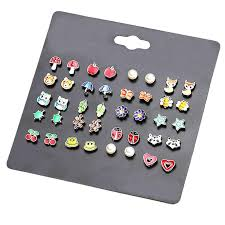 <b>20 Pairs</b>/lot <b>Kids Stud</b> Earring Set for Girls Cute Fruit Animal Ear ...