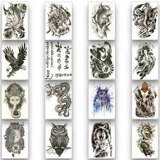 Temporary Tattoo Sticker Disposable Waterproof Tattoo Owl Wolf ...