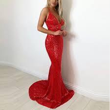 <b>RED</b> V Neck Padded Full Lining Stretch <b>Sequin Party Dress</b> ...