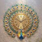 Metal Creative Big Wall Clock Modern Design Luxury Peacock 3d ...