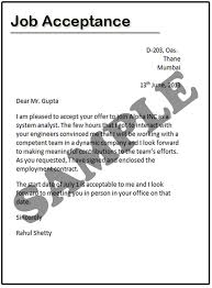 how to write a job acceptance letter   samplesjob acceptance letter