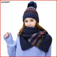 Autumn Winter hat and scarf Sets For <b>women's</b> hat <b>Thick</b> Warm ...