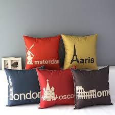 World <b>Famous</b> Cities Landmark Arts Cushion Covers <b>Paris London</b> ...