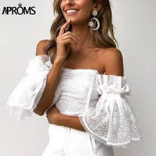 <b>Aproms Elegant</b> Off Shoulder <b>Lace</b> Mesh Crop Top Women Sexy ...