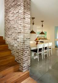 gorgeous fake brick wall fashion other metro contemporary staircase remodeling ideas with brick wall concrete flooring fruit bowl pendant lighting polished bowl pendant lighting