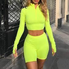 <b>Rubilove</b> Two <b>Piece Set</b> Fluorescent Green Top Shorts Suit Sexy ...