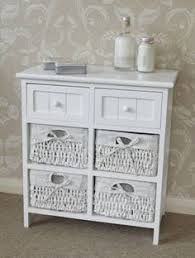 white storage unit wicker: white side cabinet storage wicker unit  drawers table hall bedside furniture