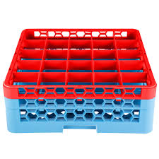 Carlisle RG25-2C410 OptiClean 25 Compartment <b>Red Glass Rack</b> ...