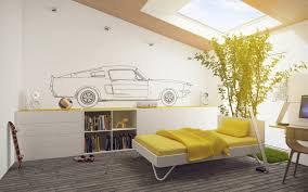 beautiful yellow cover bedding on white custom single beds and low target bookshelves and painting car children bedroom lighting