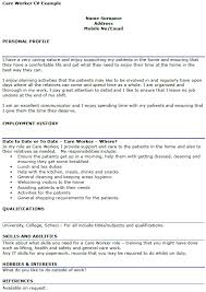 care worker cv example   icover org uk