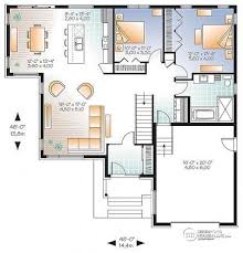 House plan W detail from DrummondHousePlans com    st level Modern House Plan   open floor plan concept  large kitchen island and a