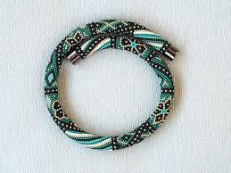 <b>Beadwork</b> teal <b>necklace Bead</b> crochet <b>necklace</b> rope Patchwork ...