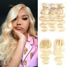 Rebecca <b>613 Blonde</b> Bundles With Closure <b>Brazilian Body</b> Wave ...