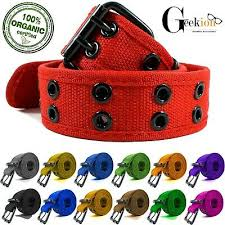 <b>NEW Unisex</b> 100% Cotton <b>Canvas Belt</b> Double Grommet Hole For ...