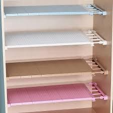 Retractable <b>Wardrobe Closet Storage Rack</b> Nail Free Layered ...