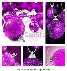 Collage of <b>purple</b> christmas <b>decorations</b> on different backgrounds.